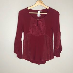Society girl burgundy crepe & lace tunic top